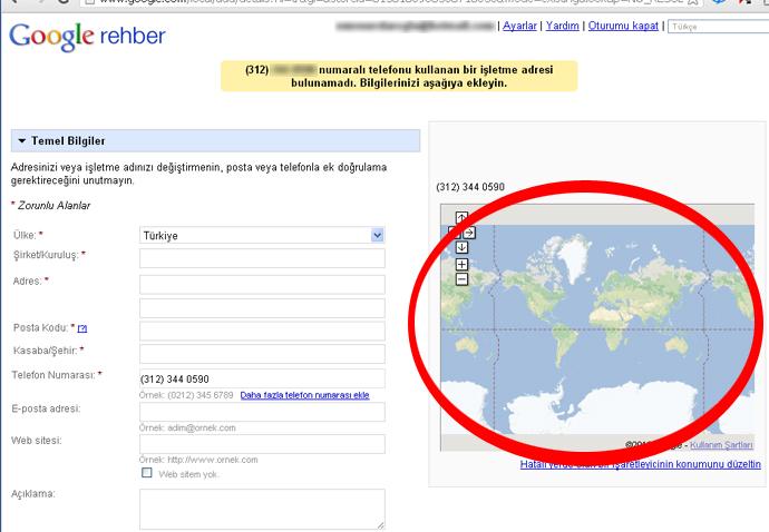 Google Rehbere Firma Bilgilerini Gir