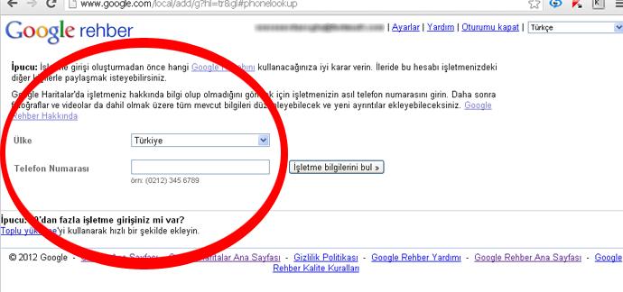 Google Rehbere Telefon Numaranı Gir